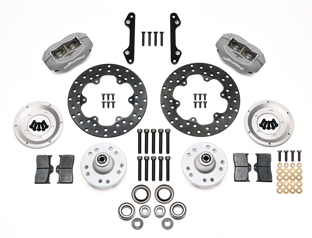 Wilwood Forged Dynalite Front Drag Brake Kit Parts Laid Out - Type III Ano Caliper - Drilled Rotor