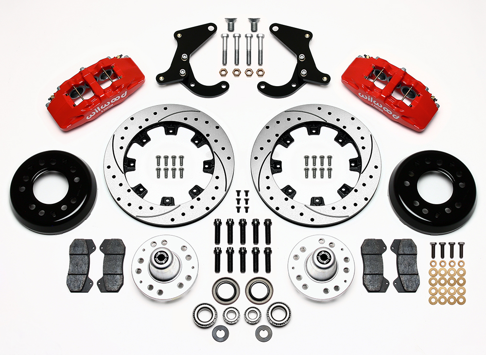 Wilwood Forged Dynapro 6 Big Brake Front Brake Kit (Hub) Parts Laid Out - Red Powder Coat Caliper - SRP Drilled & Slotted Rotor