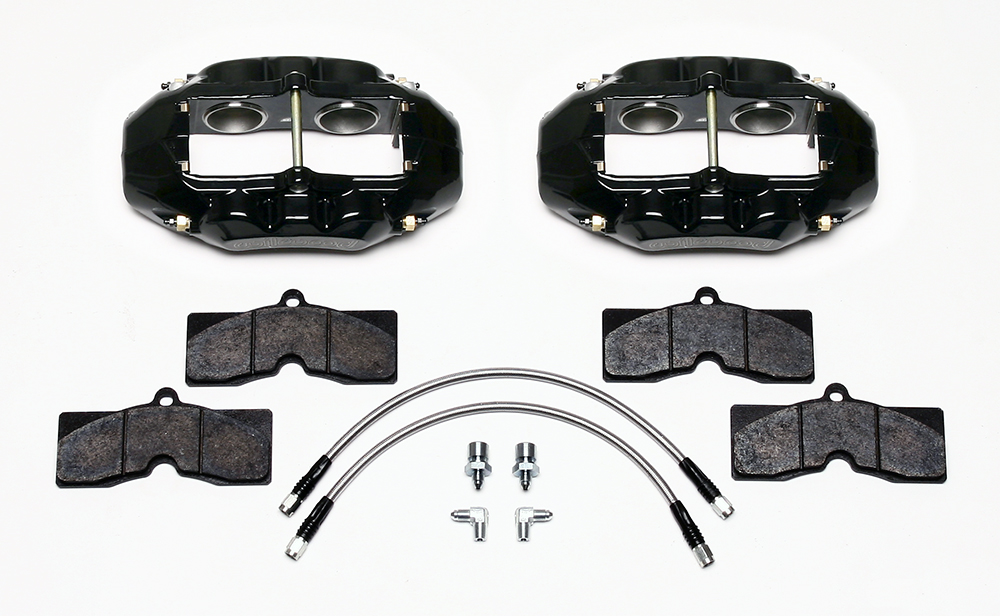Wilwood D8-4 Front Replacement Caliper Kit Parts Laid Out - Black Powder Coat Caliper