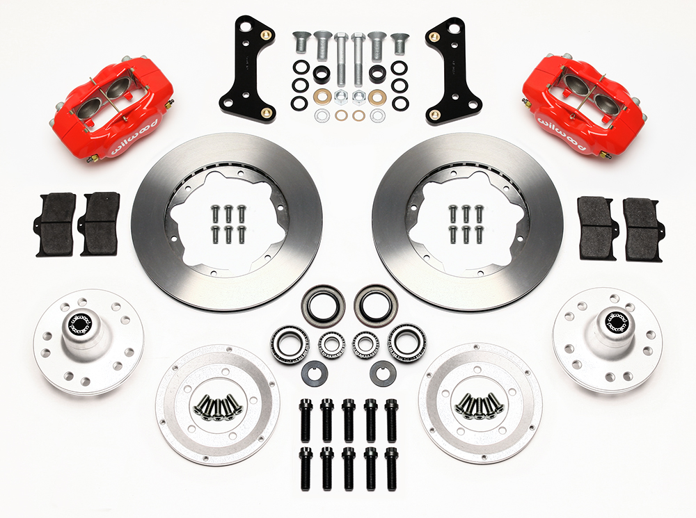 Wilwood Forged Dynalite Pro Series Front Brake Kit Parts Laid Out - Red Powder Coat Caliper - Plain Face Rotor