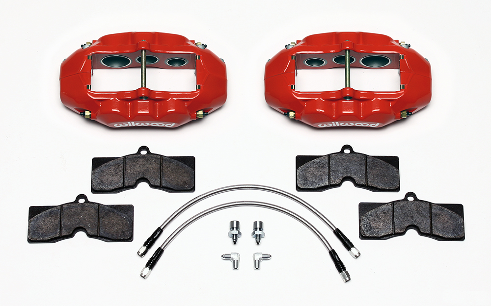 Wilwood D8-6 Front Replacement Caliper Kit Parts Laid Out - Red Powder Coat Caliper