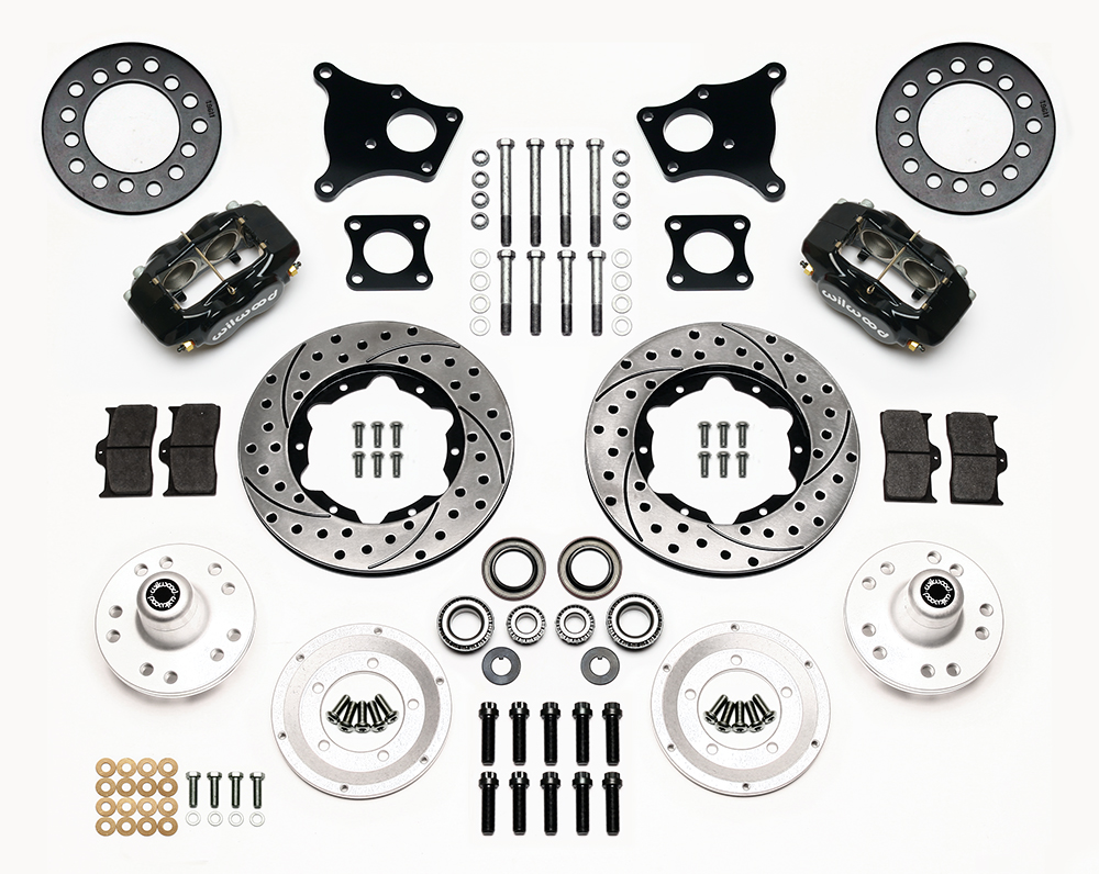 Wilwood Forged Dynalite Pro Series Front Brake Kit Parts Laid Out - Black Powder Coat Caliper - SRP Drilled & Slotted Rotor