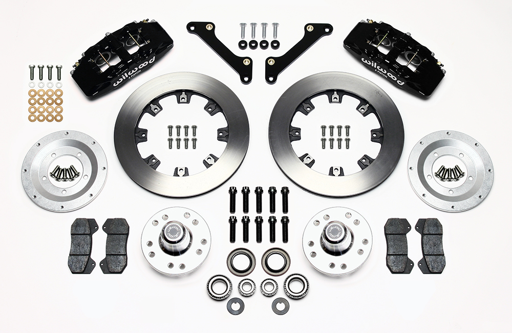 Wilwood Forged Dynapro 6 Big Brake Front Brake Kit (Hub) Parts Laid Out - Black Powder Coat Caliper - Plain Face Rotor
