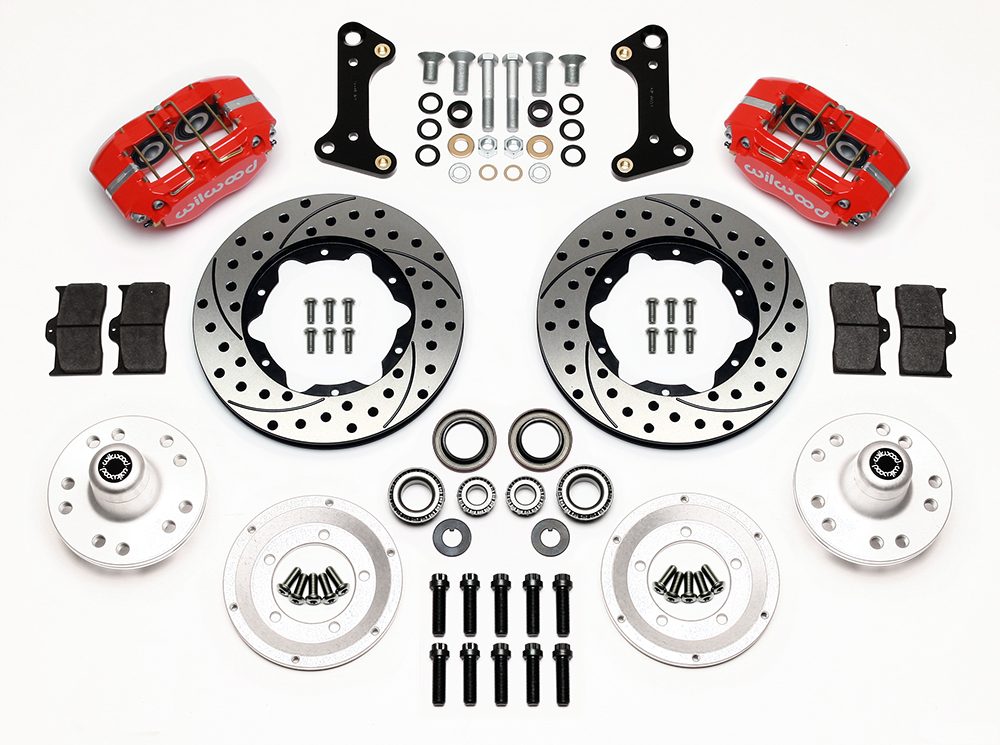 Wilwood Dynapro Dust-Boot Pro Series Front Brake Kit Parts Laid Out - Red Powder Coat Caliper - SRP Drilled & Slotted Rotor