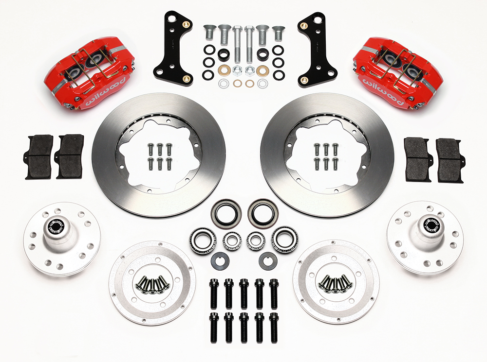 Wilwood Dynapro Dust-Boot Pro Series Front Brake Kit Parts Laid Out - Red Powder Coat Caliper - Plain Face Rotor