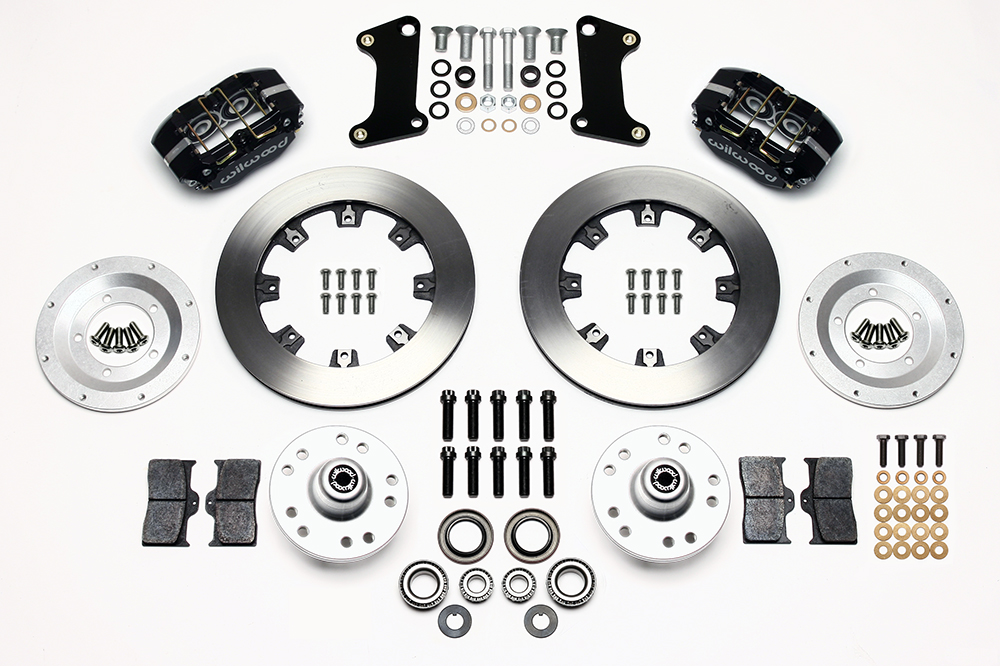 Wilwood Dynapro Dust-Boot Big Brake Front Brake Kit (Hub) Parts Laid Out - Black Powder Coat Caliper - Plain Face Rotor