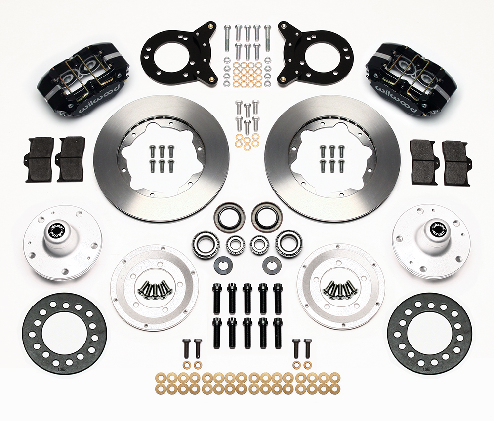 Wilwood Dynapro Dust-Boot Pro Series Front Brake Kit Parts Laid Out - Black Powder Coat Caliper - Plain Face Rotor