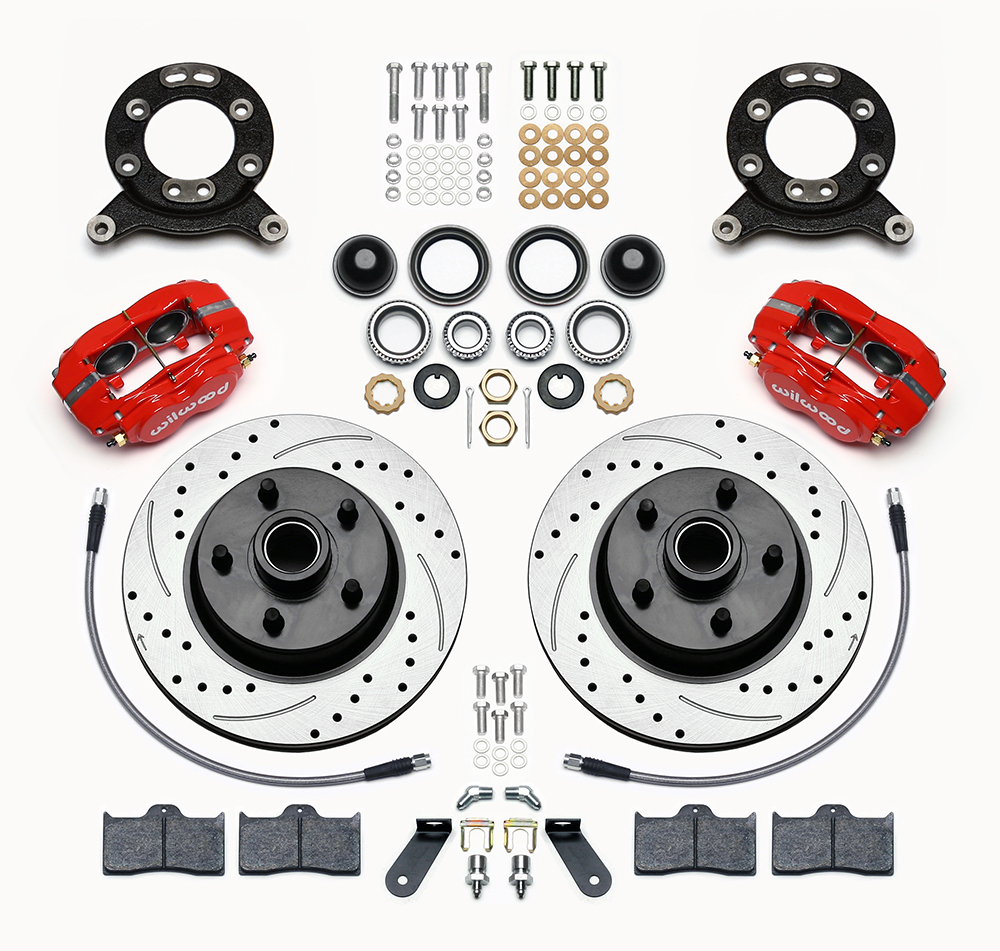 Wilwood Disc Brakes Front Brake Kit Part No 140 13477 Dr Rear Drum Diagram Ford Truck Enthusiasts Forums Classic Series Dynalite Parts Laid Out Red Powder Coat Caliper