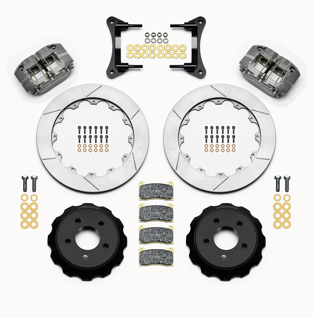 Wilwood Dynapro Radial Front Drag Brake Kit Parts Laid Out - Type III Ano Caliper - GT Slotted Rotor