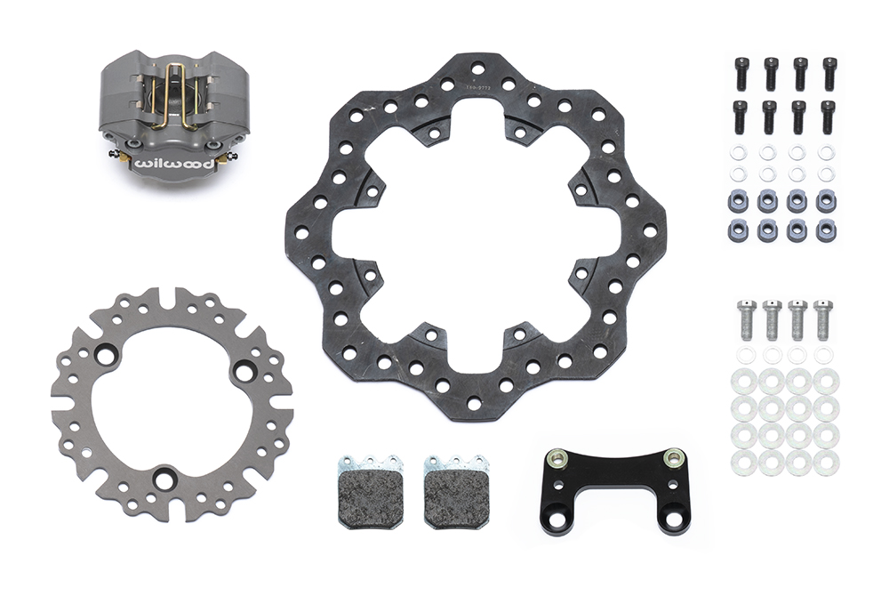 Wilwood Dynapro Single Front Dirt Modified Brake Kit Parts Laid Out - Type III Ano Caliper - Drilled Rotor
