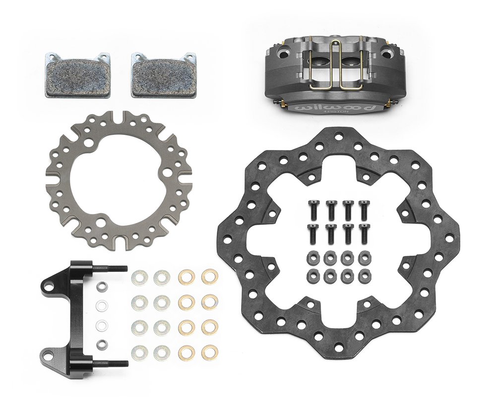 Wilwood Powerlite Front Dirt Modified Brake Kit Parts Laid Out - Type III Ano Caliper - Drilled Rotor