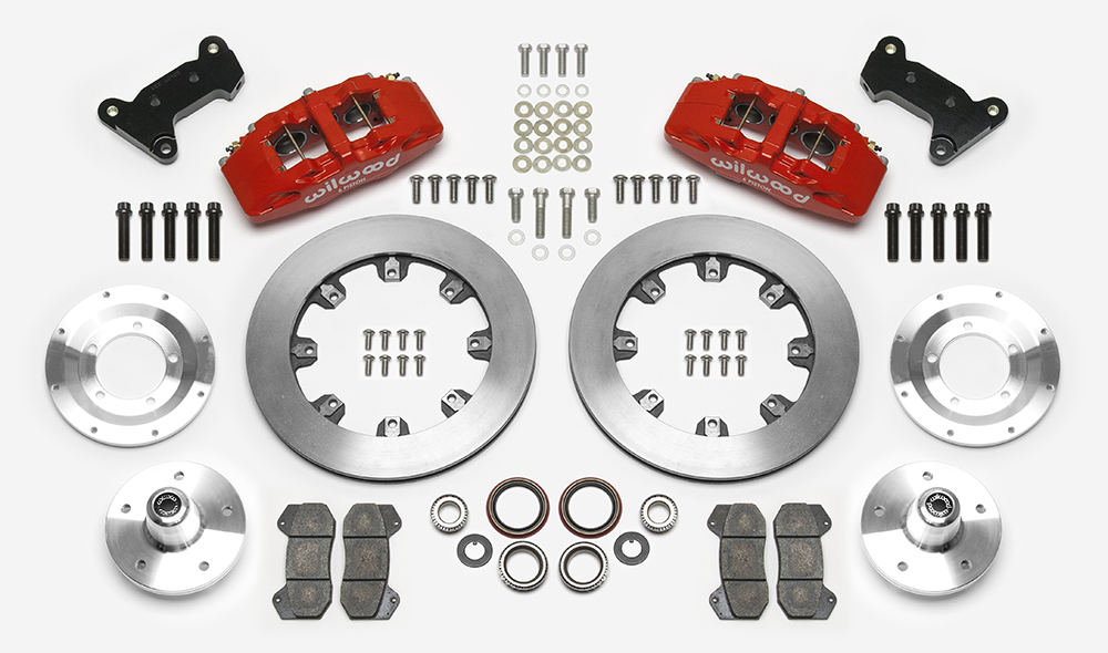 Wilwood Forged Dynapro 6 Big Brake Front Brake Kit (5 x 5 Hub) Parts Laid Out - Red Powder Coat Caliper - Plain Face Rotor
