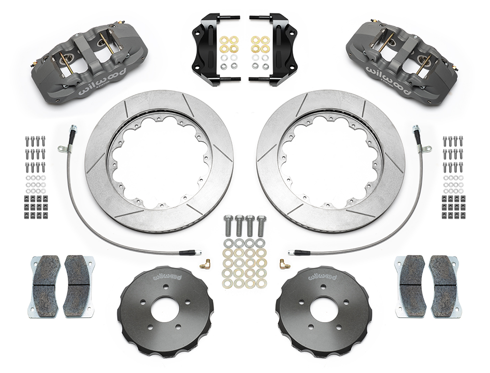 Wilwood AERO6 Big Brake Front Brake Kit (Race) Parts Laid Out - Type III Ano Caliper - GT Slotted Rotor