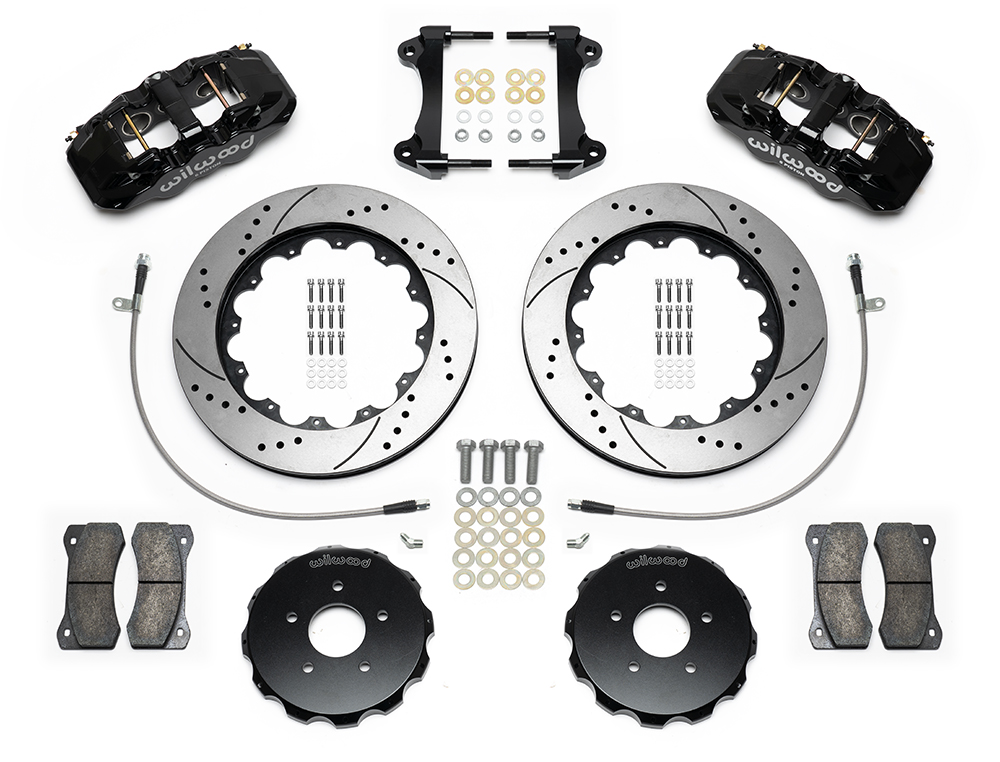 Wilwood AERO6 Big Brake Front Brake Kit Parts Laid Out - Black Powder Coat Caliper - SRP Drilled & Slotted Rotor