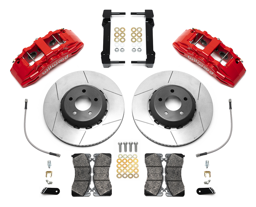Wilwood SX6R Big Brake Dynamic Front Brake Kit Parts Laid Out - Red Powder Coat Caliper - GT Slotted Rotor