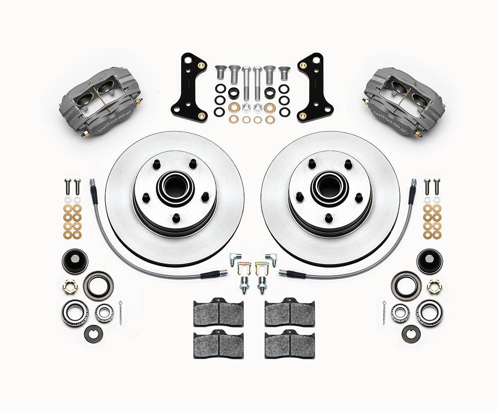 Wilwood Classic Series Dynalite Front Brake Kit Parts Laid Out - Type III Ano Caliper - Plain Face Rotor