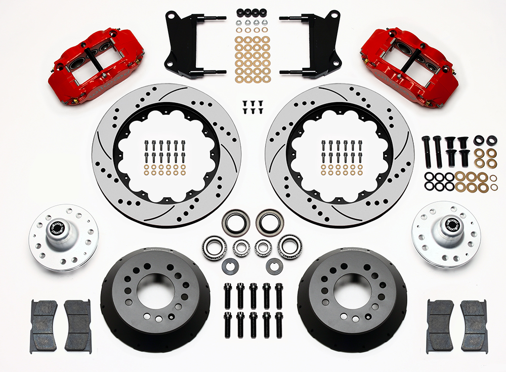 Wilwood Forged Narrow Superlite 6R Dust-Seal Big Brake Front Brake Kit (Hub) Parts Laid Out - Red Powder Coat Caliper - SRP Drilled & Slotted Rotor