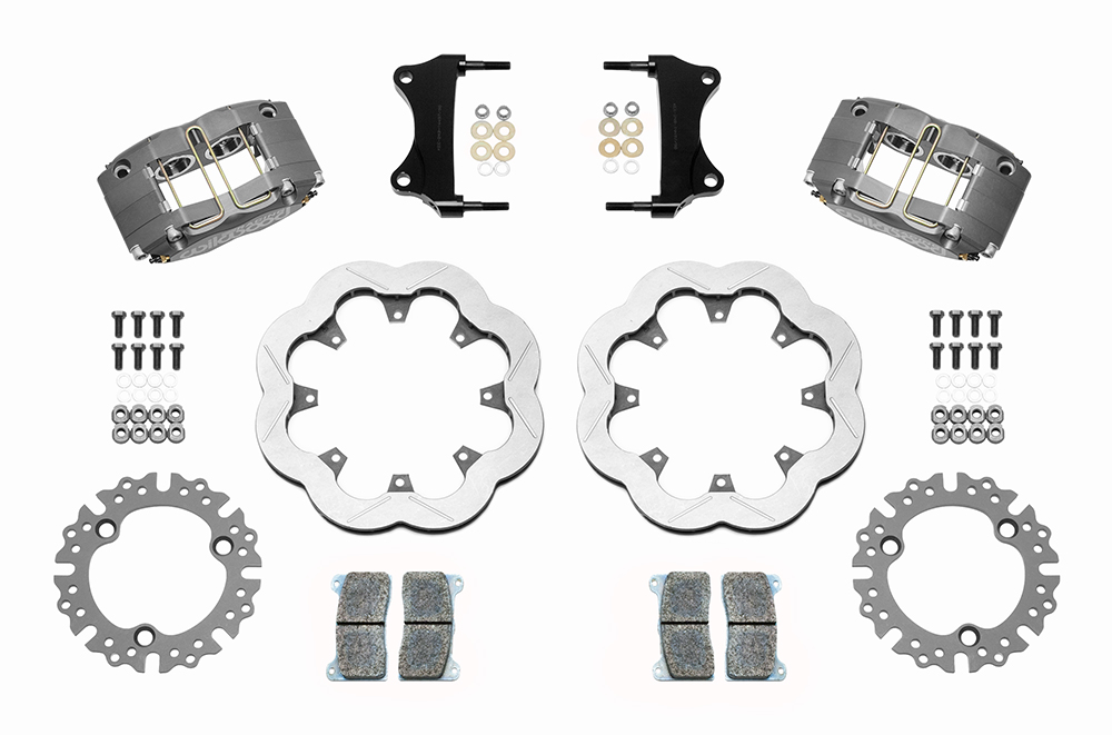 Wilwood Dynapro Radial Front Sprint Brake Kit Parts Laid Out - Type III Ano Caliper - Slotted Rotor