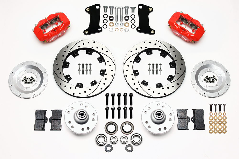 Wilwood Forged Dynalite Big Brake Front Brake Kit (Hub) Parts Laid Out - Red Powder Coat Caliper - SRP Drilled & Slotted Rotor