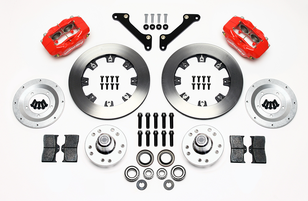 Wilwood Forged Dynalite Big Brake Front Brake Kit (Hub) Parts Laid Out - Red Powder Coat Caliper - Plain Face Rotor
