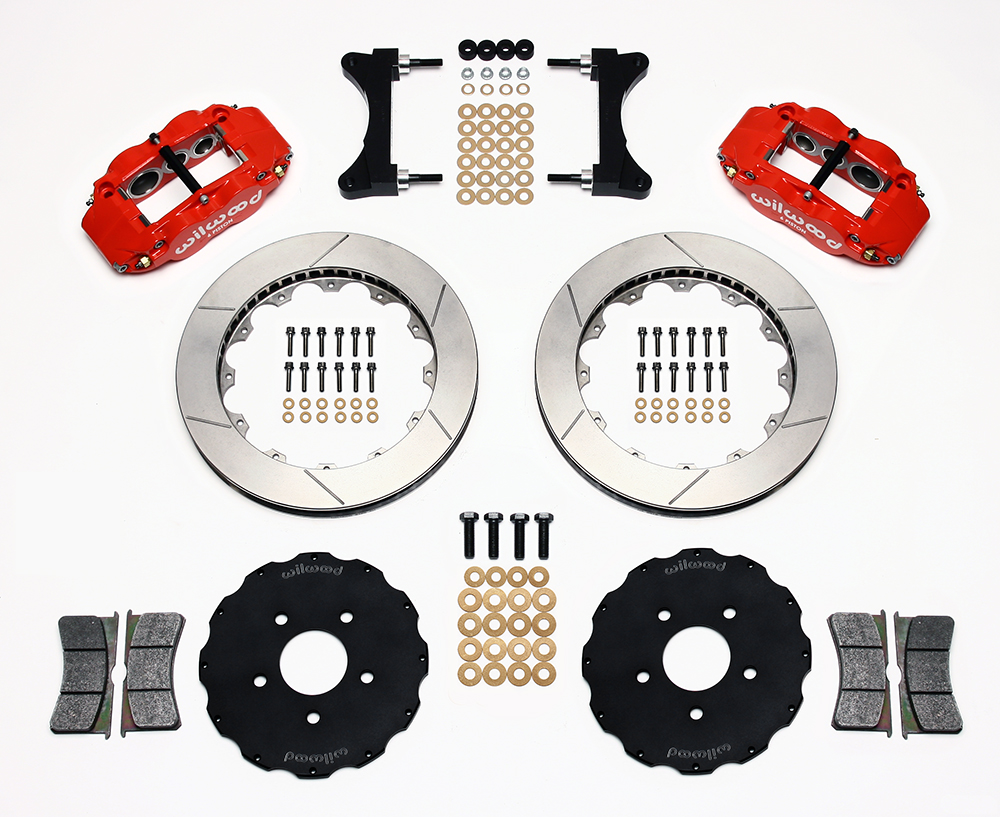 Wilwood Forged Narrow Superlite 6R Big Brake Front Brake Kit (Hat) Parts Laid Out - Red Powder Coat Caliper - GT Slotted Rotor