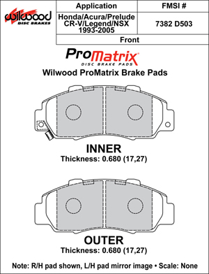 Wilwood Brake Pad Plate #D503