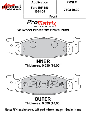 Wilwood Brake Pad Plate #D632