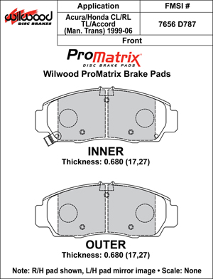 Wilwood Brake Pad Plate #D787