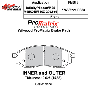 Wilwood Brake Pad Plate #D888