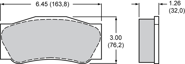 Wilwood Brake Pad Plate #4632 Large Drawing