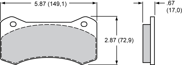 Wilwood Brake Pad Plate #6617 Large Drawing