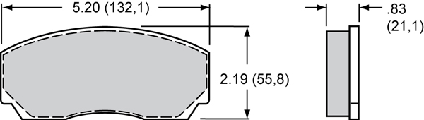 Wilwood Brake Pad Plate #8521 Large Drawing