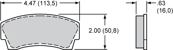 Wilwood Brake Pad Plate #8716 Large Drawing