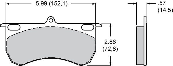 Wilwood Brake Pad Plate #9115 Large Drawing