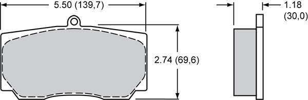 Wilwood Brake Pad Plate #9830 Large Drawing
