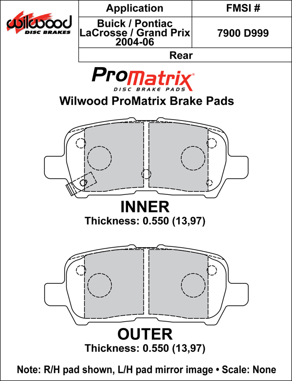 Wilwood Brake Pad Plate #D999 Large Drawing