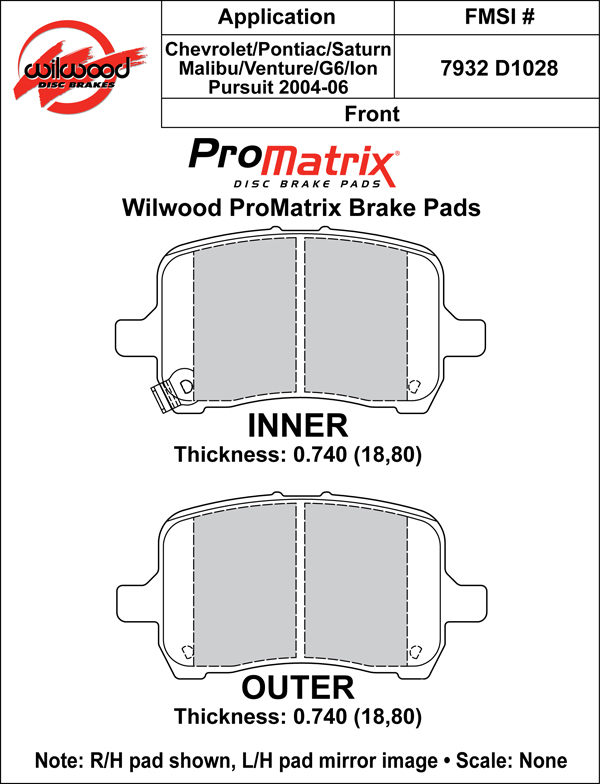 Wilwood Brake Pad Plate #D1028 Large Drawing