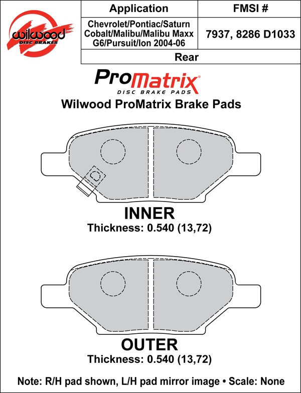 Wilwood Brake Pad Plate #D1033 Large Drawing