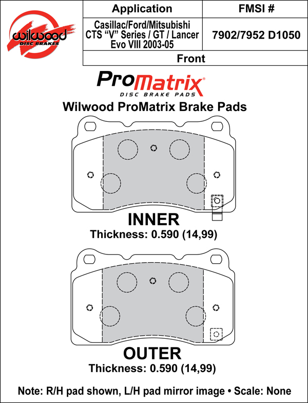 Wilwood Brake Pad Plate #D1050 Large Drawing