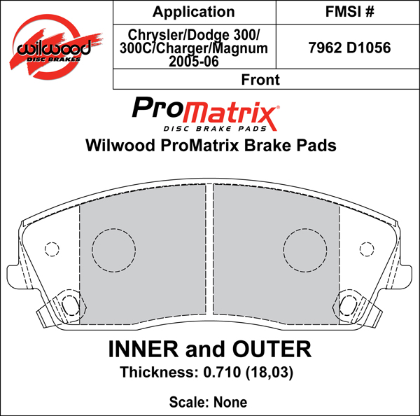Wilwood Brake Pad Plate #D1056 Large Drawing