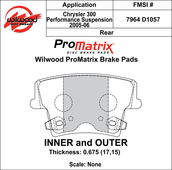 Wilwood Brake Pad Plate #D1057 Large Drawing