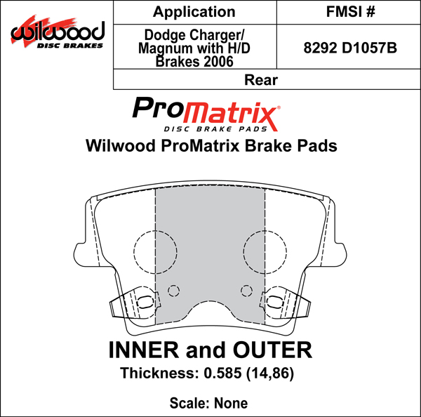 Wilwood Brake Pad Plate #D1057B Large Drawing
