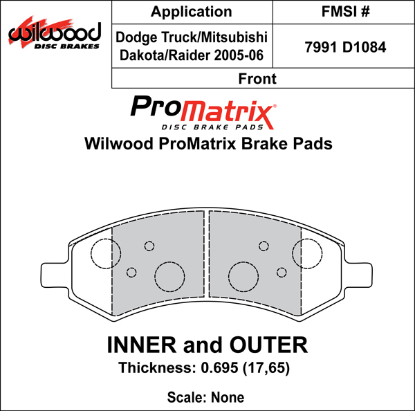 Wilwood Brake Pad Plate #D1084 Large Drawing