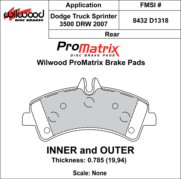 Wilwood Brake Pad Plate #D1318 Large Drawing
