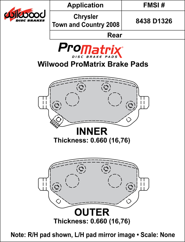 Wilwood Brake Pad Plate #D1326 Large Drawing