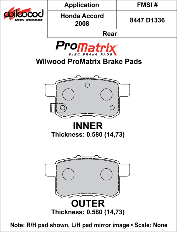 Wilwood Brake Pad Plate #D1336 Large Drawing