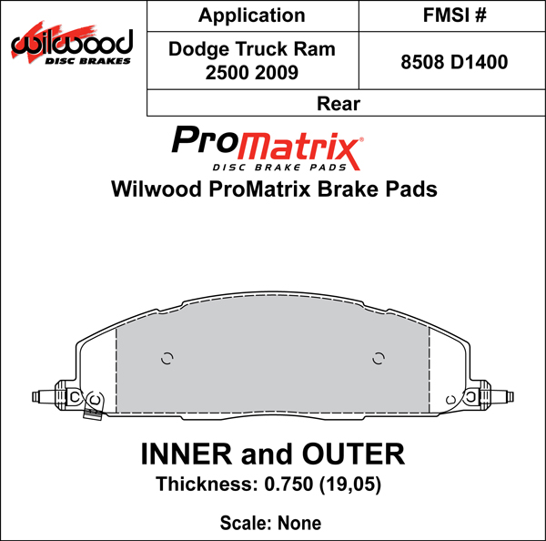 Wilwood Brake Pad Plate #D1400 Large Drawing
