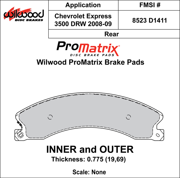 Wilwood Brake Pad Plate #D1411 Large Drawing