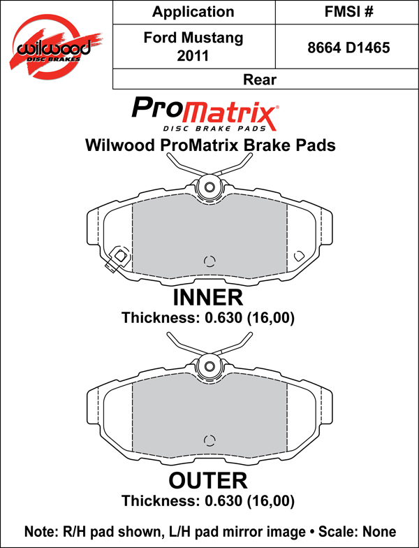 Wilwood Brake Pad Plate #D1465 Large Drawing