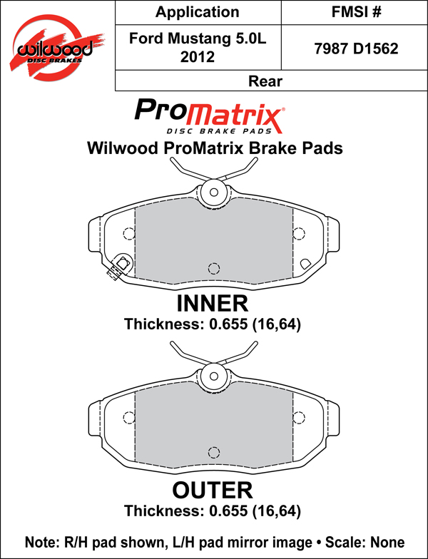 Wilwood Brake Pad Plate #D1562 Large Drawing